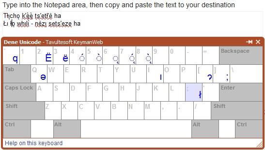 Utilities | Unicode Dene Keyboards